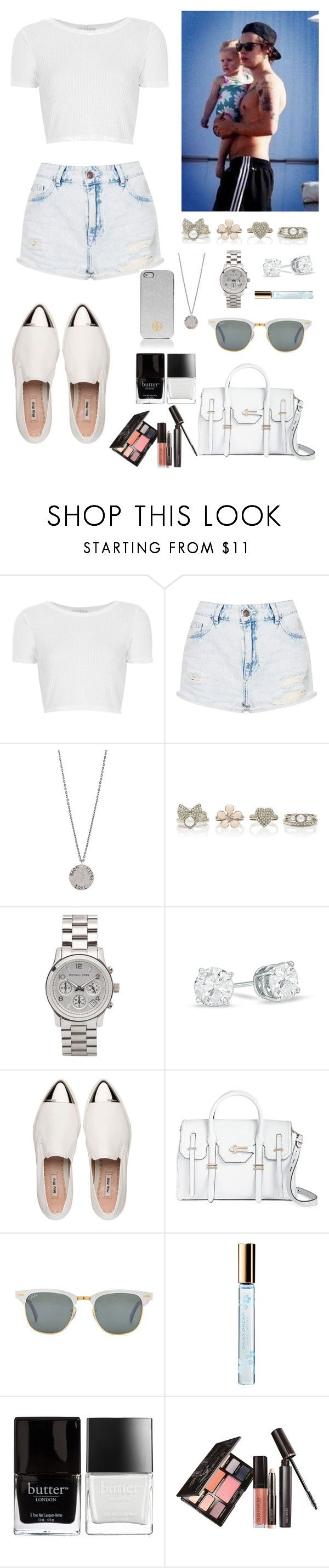 """Babysiting Lux w/ Harry Styles"" by officialonedirectionfanpage ❤ liked on Polyvore featuring Topshop, Diana Warner, Forever New, Michael Kors, Miu Miu, Rebecca Minkoff, Ray-Ban, Marc Jacobs, Butter London and Laura Mercier"