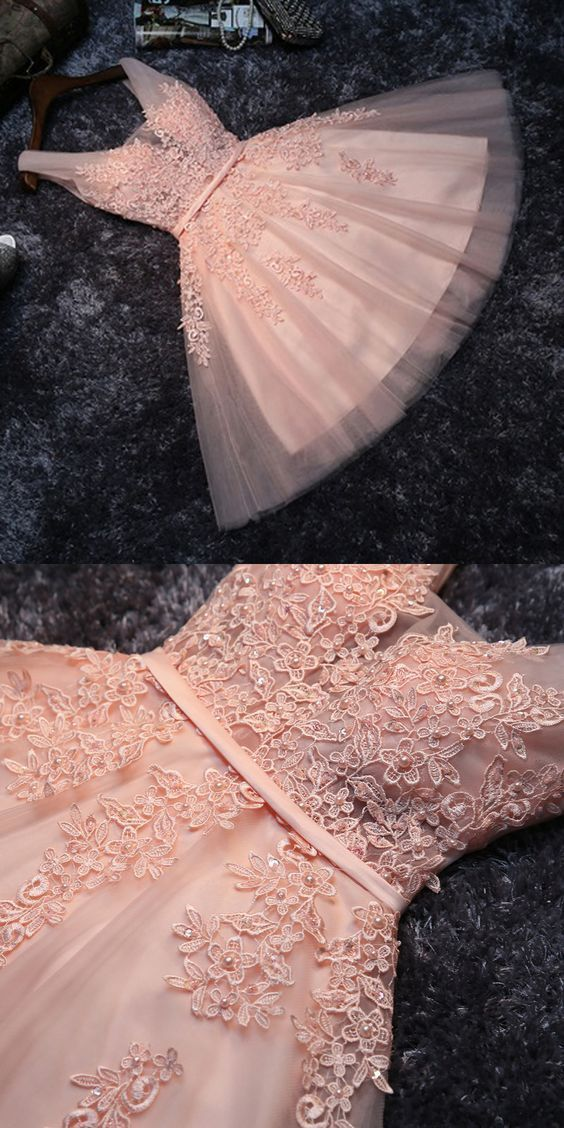 Princess Lace Appliqued Tulle Homecoming Dress #Blush Pink Short Bridesmaid Dresses #Short Prom Dress #Sweet 16 Cocktail Dress #Homecoming Dress