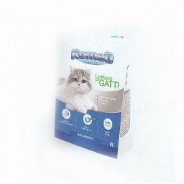 Romeo lettiera per gatti è una lettiera in bentonite, la bentonite assorbente, assorbe instantaneamente l'urina del gatto, formando dei solidi grumi, facilmente asportabili, che trattengono all'interno anche i batteri.