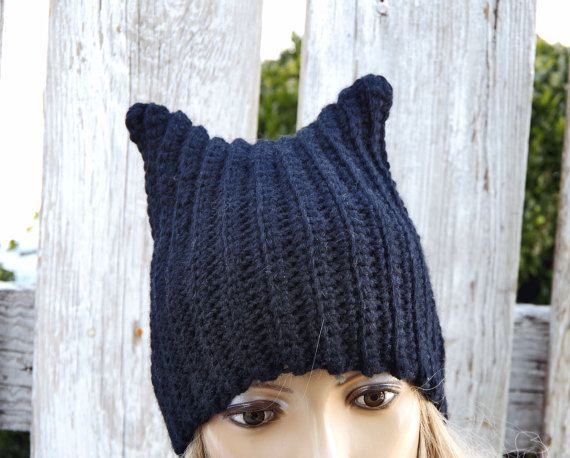 Pussyhats  Beanie Hat BLACK knitted women's march Cat by Degra2