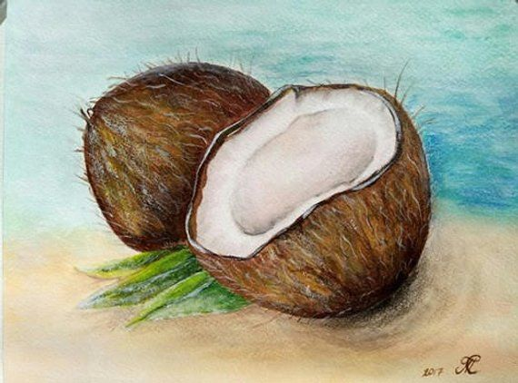 Coconut Painting Original Acrylic Painting Wall Art Kitchen