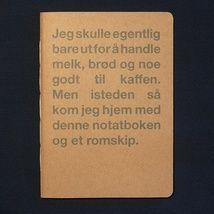 Om handling og romskip - notatbok fra Mainn med bart.