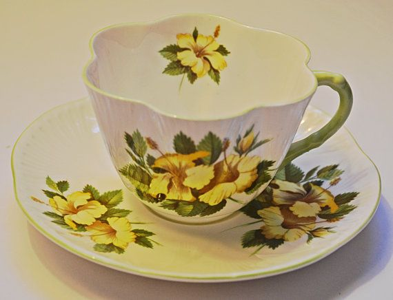 Shelley Cup And Saucer Hibiscus Pattern Dainty Tea Shape