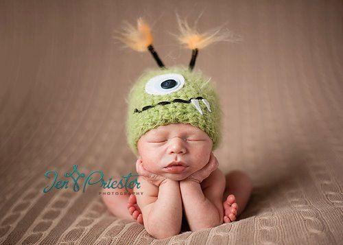 green monster baby hat