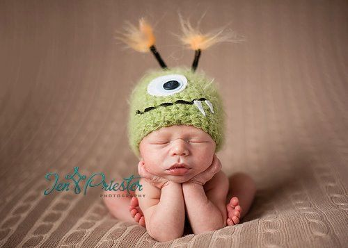 Mohawks, ears and owls! 14 adorably funny hats for baby | BabyCenter Blog: Newborn Baby, Babies, Monster Has, Newborn Babies, Baby Hats, Monster Newborn, Green Monsters, Photography Props, Kid