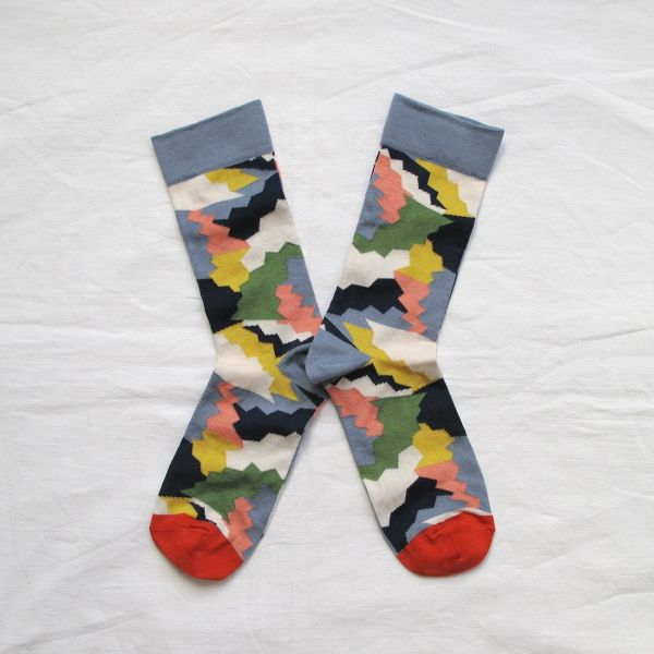 Socks Women Fancy Made in France Multicolored Puzzle