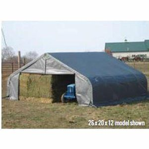 ShelterLogic Peak Style 26ft.W Garage/Storage Shelter - Gray, 24ft.L x 26ft.W x 12ft.H, 2 3/8in. Frame, Model# 84027 by ShelterLogic. $2343.00. Industrial grade 2 3/8in. steel frame construction. Bolt-together hardware at every connection. Triple-layer 9-oz.-per sq. meter woven fabric is UV-treated inside outside and in between. DuPont premium thermoset powder-coat finish resists rust and corrosion. Ripstop tough advanced engineered polyethylene fabric cover, doors and...