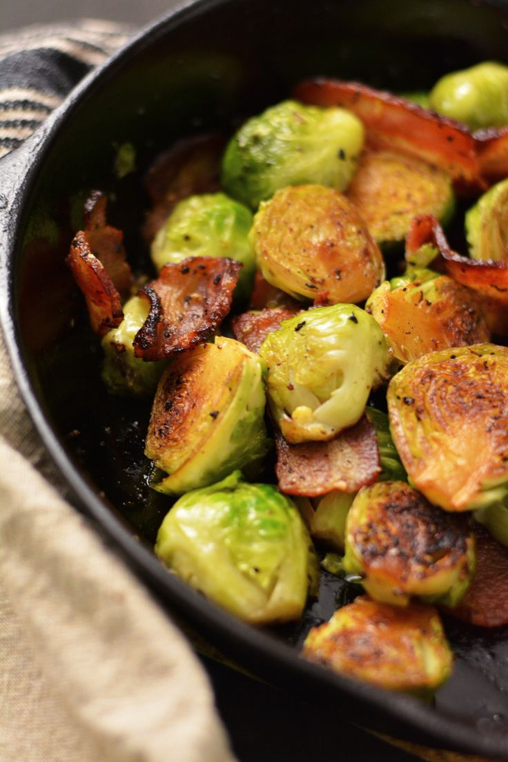 Pan Roasted Brussel Sprouts with Bacon   Thanksgiving