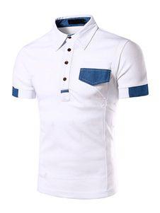 Blanco botones camisa Polo de algodón Chic para hombres