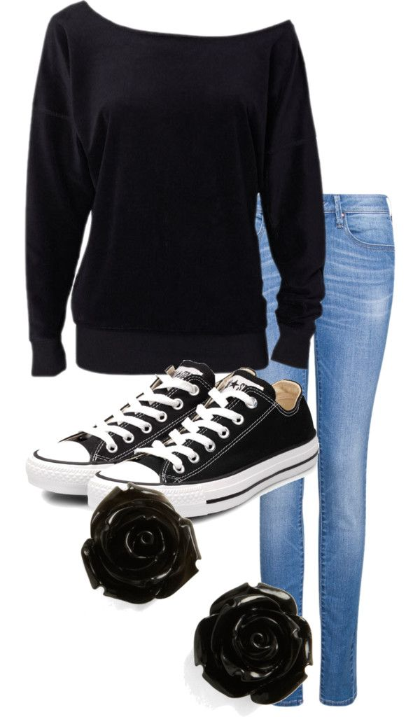 cute outfit I would love to wear this with my converse as well!! If only I had the black shirt and the earrings!!