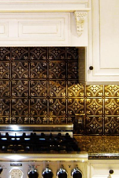 tin tiles for kitchen backsplash bronze backsplash white cabinets rubbed bronze hardware 26044