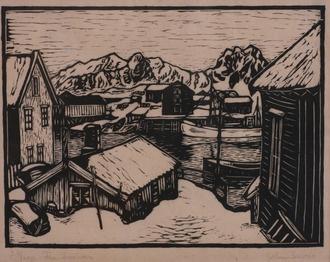 """John Andreas Savio:  Tresn. 24/100 """"Fra Svolvær"""""""