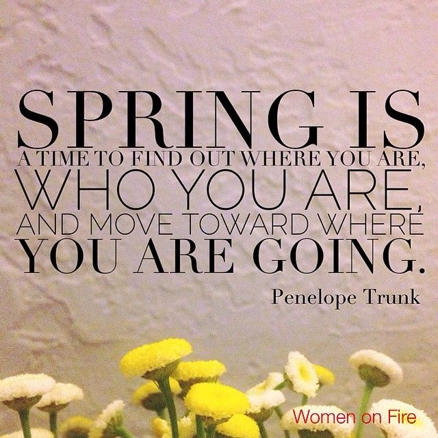 Spring Is A Time To Find Where You Are, Who You Are And