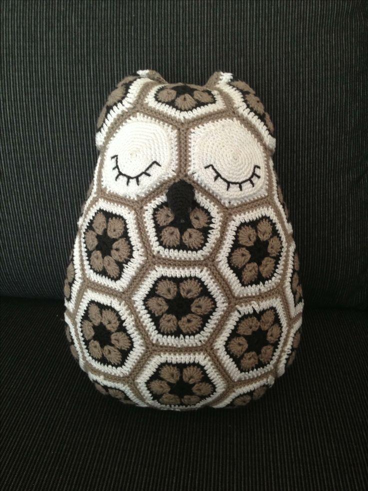 Ugle til Lukas - african flower crochet