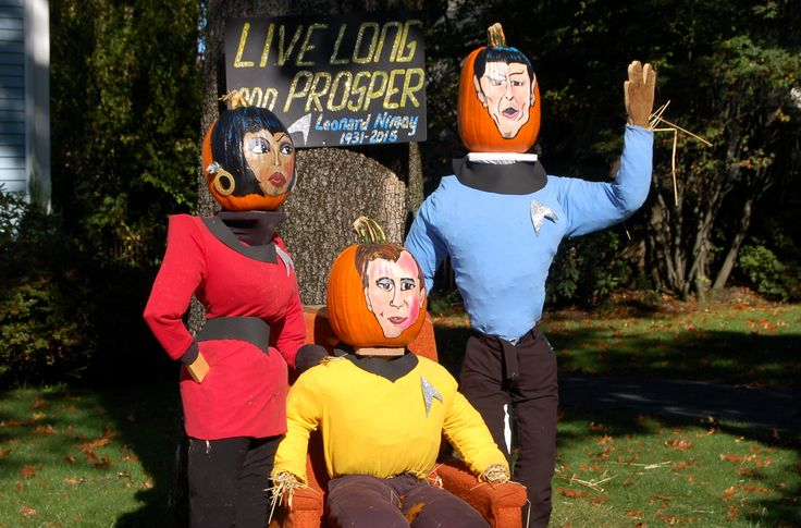 """Leonard Nimoy (1931-2015) celebrated in a scarecrow display for Halloween, October, 2015, along with his shipmates on the Enterprise, Kirk and Uhura. I love creative scarecrows! I have pictures of other scarecrows whose makers """"thought outside the box"""" here: http://landscaping.about.com/od/landscapecolor/ig/pictures-of-scarecrows/"""