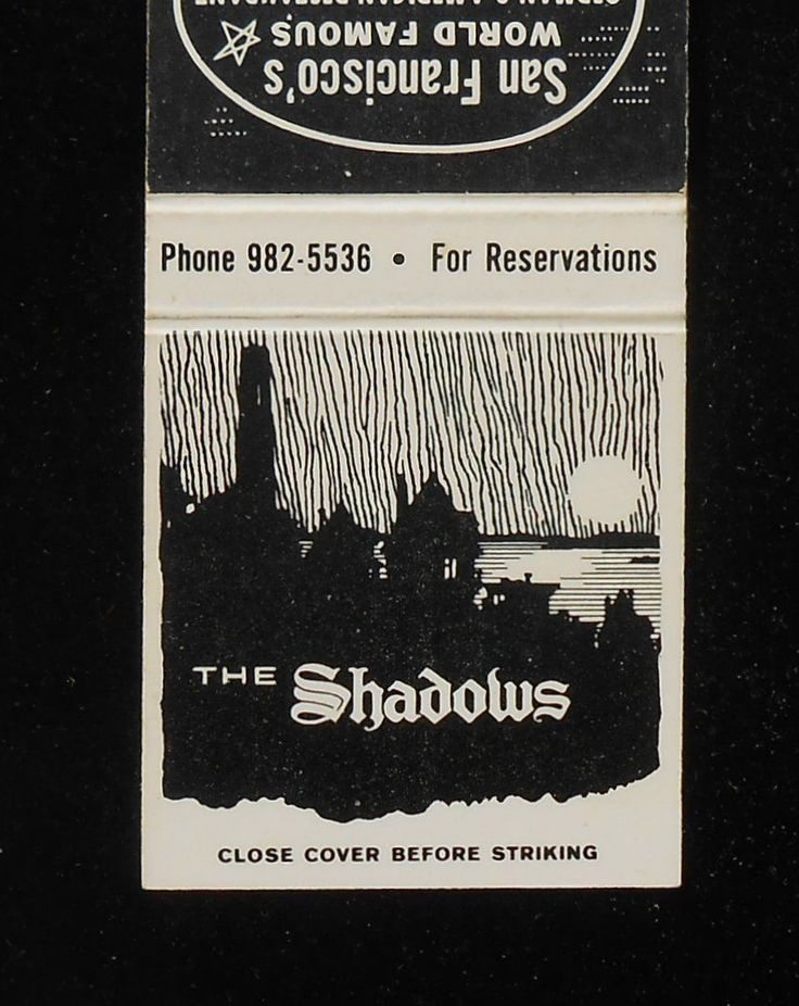 1960s Matchbook The Shadows German Restaurant atop Telegraph Hill San Francisco | eBay