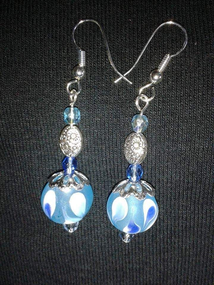 Silver plated blue beads with filigree cap