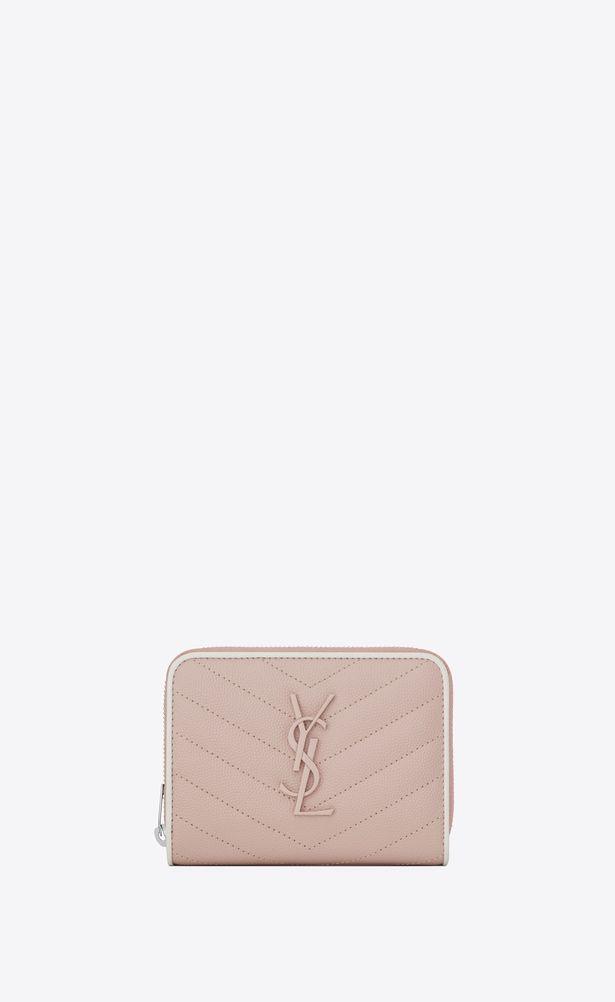 89cbd8d20e SAINT LAURENT Monogram Matelassé Woman compact zip around wallet in ...