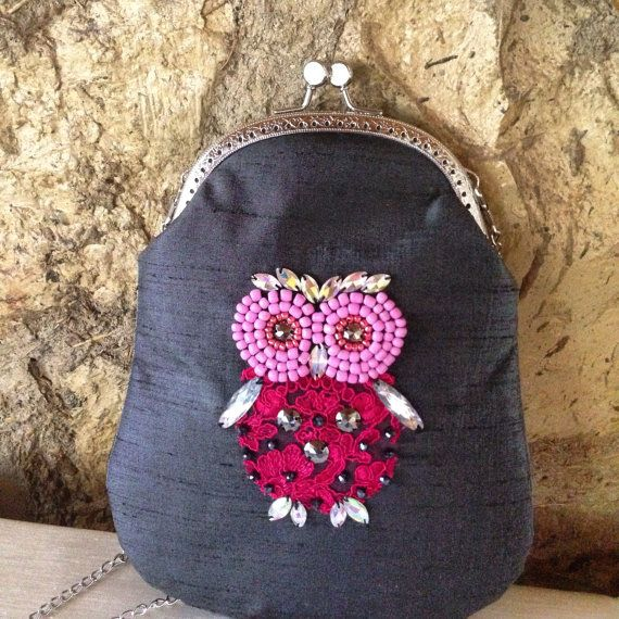 Embroidered pink owl bag by ebroosbags on Etsy