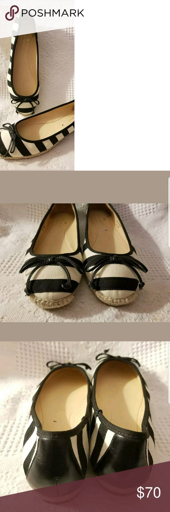 Kate Spade ballet flats 8 M Valley black ivory Kate Spade New York women's ballet flats size 8 M.  Valley canvas espadrille bow flat leather lining and footbed made in Brazil.  Fabulous quality and excellent condition, ready for Spring and Summer outfits! kate spade Shoes Espadrilles
