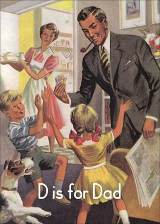 """""""D"""" is for 'Dad' ~ Vintage Children's ABC Flash Card"""