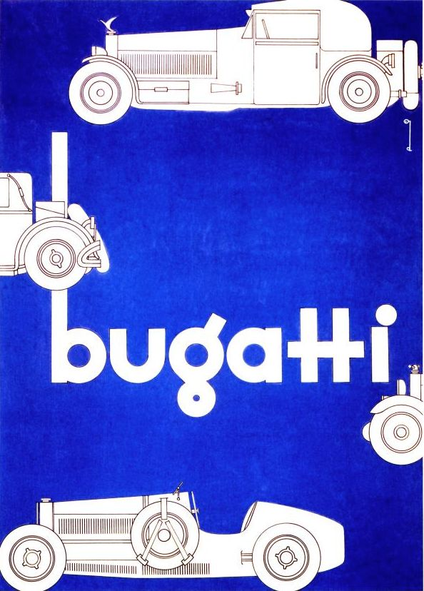 Illustration by Ernst Dryden, 1927, Bugatti.
