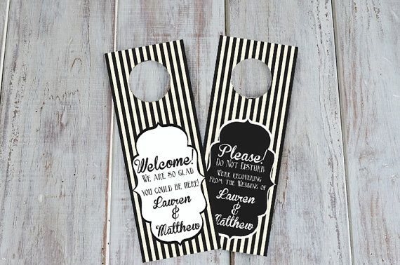 Wedding Hotel Door Hangers  Wedding Hotel Door by GetHappyDesign