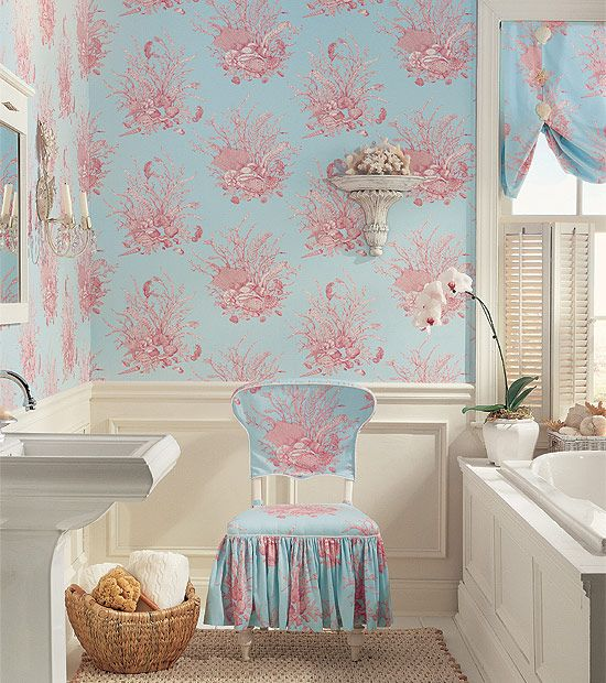 Nautilus wallpaper in pink on blue from the toile for Blue bathroom wallpaper