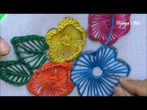 Hand Embroidery Work Designs # 100-Ruffle button hole Stitch flower Designs