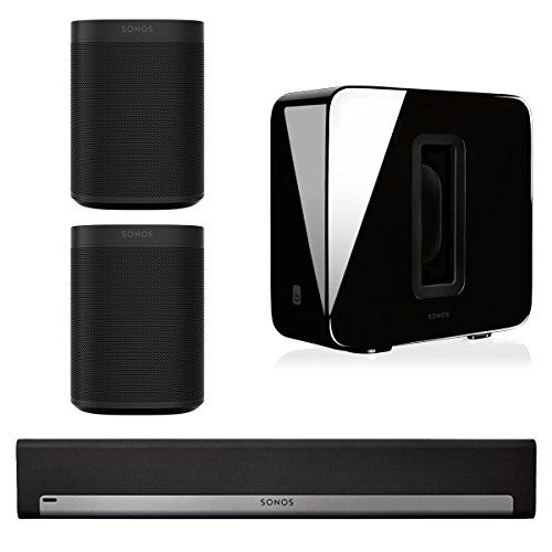 Sonos 5.1 Home Theater System with Sonos ONE (Pair), PLAYBAR, and SUB (Black) This Bundle Includes (4) Items: (2) Sonos ONE Voice Controlled Wireless Smart Speakers, (1) PLAYBAR TV Soundbar, and (1) SUB Wireless Subwoofer Sonos ONE Voice Controlled Wireless Smart Speaker allows you to start and control your smart home with your voice. Amazon Alexa built right in Sonos PLAYBAR complements HD television screens with crisp and powerful sound from nine amplified speaker drivers.