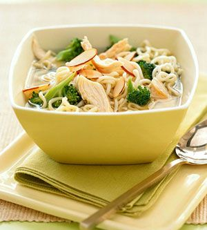 This easy main-dish soup, made with chicken, broccoli, and ramen noodles, gets dinner on the table fast. Round out the meal with rolls and a tossed salad.