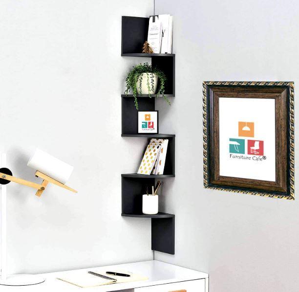 Furniture Cafe Zigzag Corner Wall Mount Shelf Unit Racks And Shelves Wall Shelf Book Shelf In 2020 Wall Mounted Shelves Wall Shelves Corner Wall