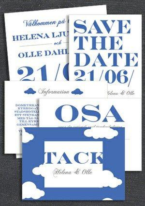 """PAKET: """"WHEN I FALL IN LOVE"""" BLÅ; SAVE THE DATE, INBJUDAN, TACKKORT, INFOKORT & OSA-KORT (VÄRDE 765 SEK)"""