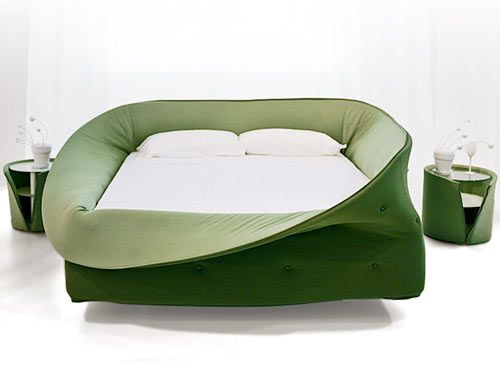 The Letto Col-letto from Lago (say that five times) has a soft foam collar that surrounds the edges that you can roll up or down. Call me crazy, but is this a crib for adults? We featured it before but we just had to talk about it again. And how cute are those nightstands that peek out from behind the fabric skin?