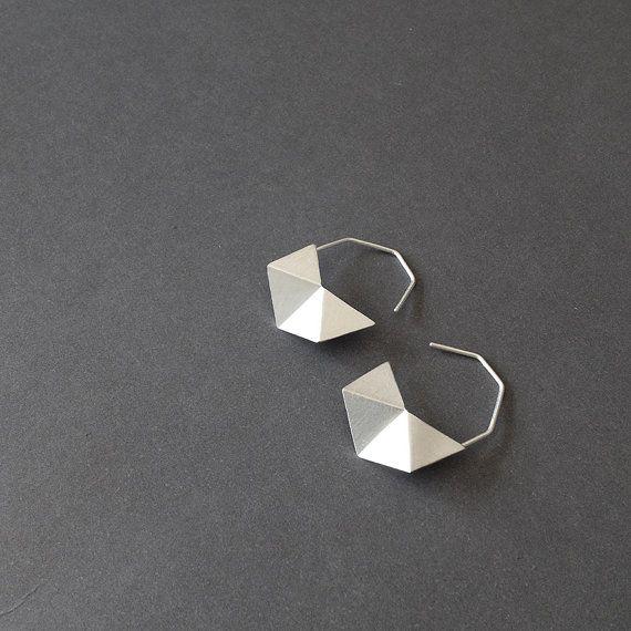 Oxidized Black Geometric Earrings Geometric Hoop by RawObjekt