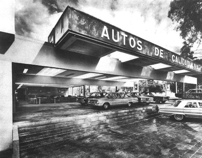 Detalle de la fachada, Agencia de automóviles para Automex (ahora BMW), av. Insurgentes Sur 2358, San Ángel, Álvaro Obregón, México, DF 1966 (remodelado)  Arq. Manuel González Rul -   Detail of the facade, Automex dealership (now BMW), av. Insurgentes Sur 2358, San Angel, Alvaro Obregon, Mexico CIty 1966 (remodeled)
