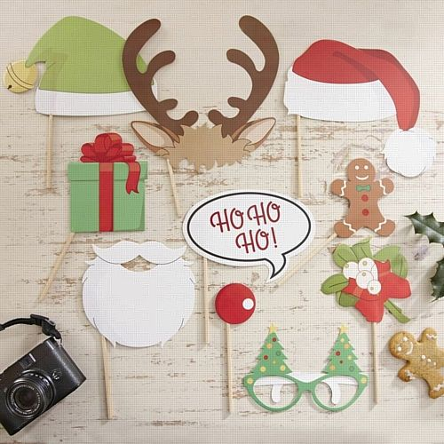 Ever wanted to capture granddad asleep with some antlers on his head, well now you can with our festive photo booth kit. The kit contains 10 props for you to take fun pictures at a Christmas party or over the festive season. Cameras sold separately.