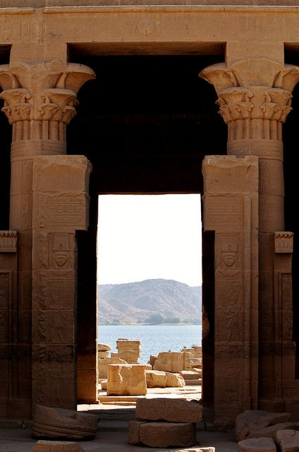 Philae Temple, Egypt. Dedicated to the Goddess Isis! Considered Egypt's greatest magician for what she did for Osiris, her husband who was killed. Read myths of Egypt. <3