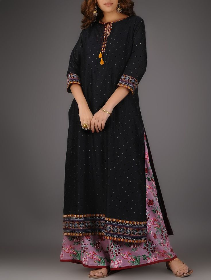 Buy Black Round Neck Khari printed Chanderi Kurta with Embroidery and Slip (Set of 2) Shell: Slip: Cotton Voile SALE! Online at Jaypore.com