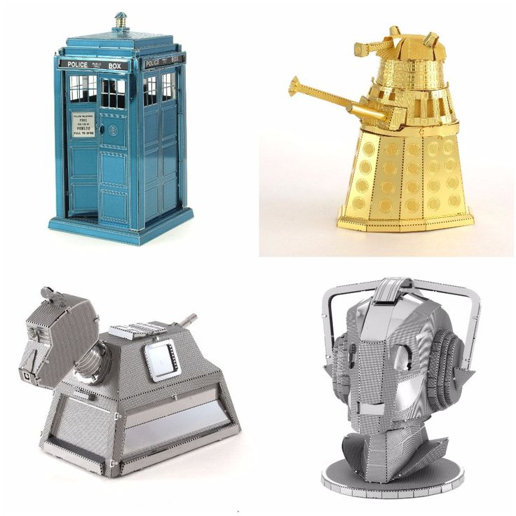 Assemble your very own TARDIS, DALEK, CYBERMAN HEAD, & K9 with this Doctor Who TARDIS Metal Earth Model Kit! Use the easy-to-follow instructions included with the blue sheets to pop out the pieces, be