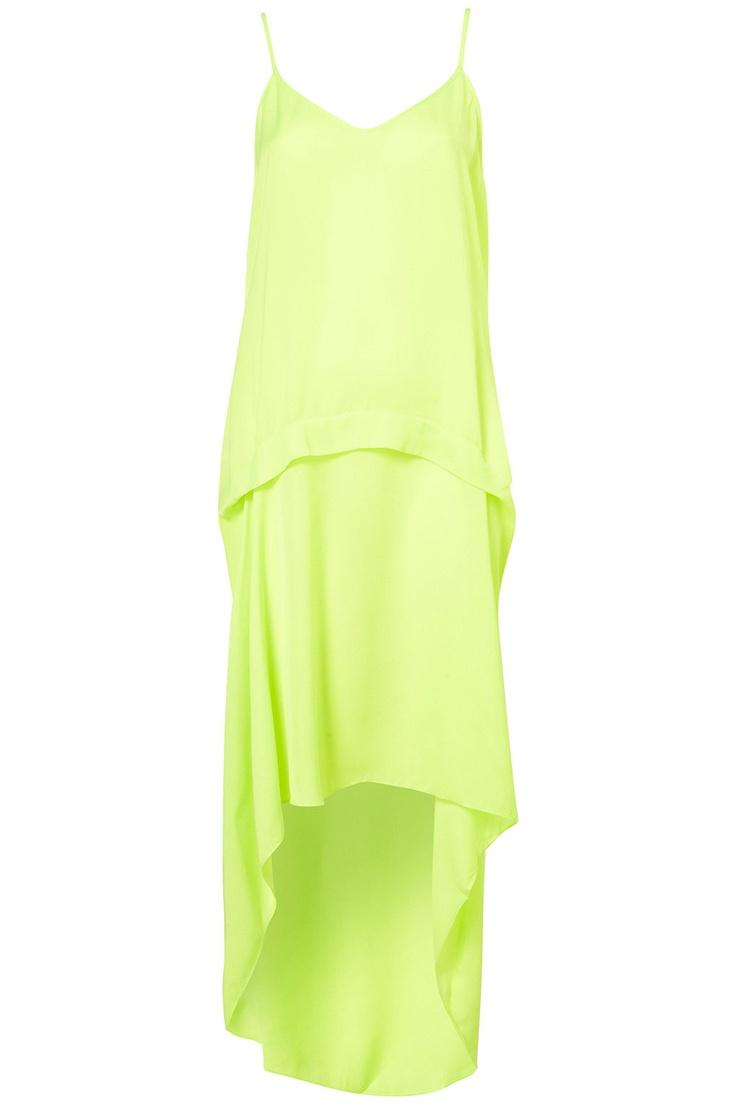 Robe fluo à ourlet plongeant - Topshop