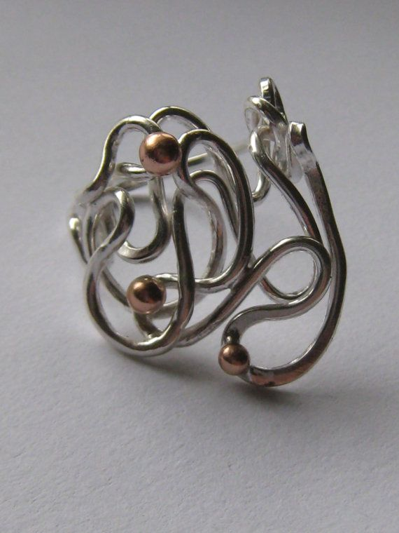 Sterling silver and Red Gold Swirl Ring.  Handmade by ZaZing, $180.00