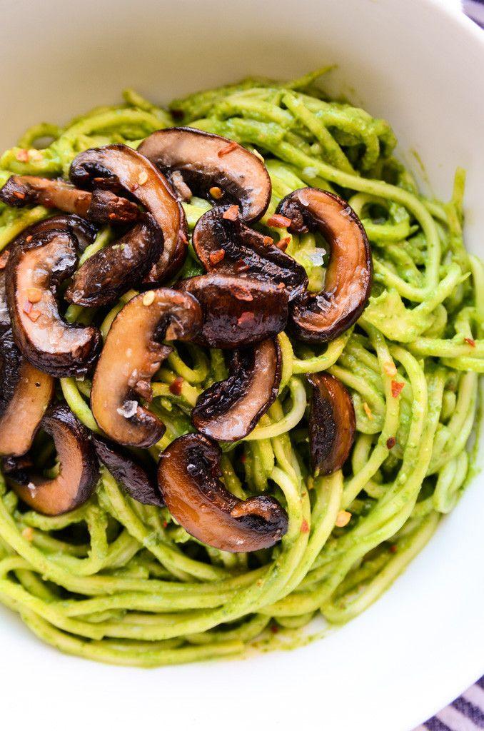 Lean Green Avocado-Spinach Pesto Pasta with Sautéed Mushrooms (vegan, gf)