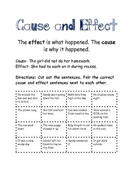This download includes:*Definition of cause and effect*Example*8 cause and effect pairs for students to sort and match...