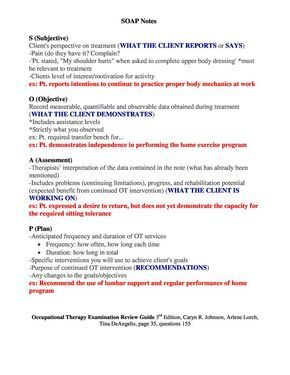 SOAP Notes Occupational Therapy Examination Review Guide ...