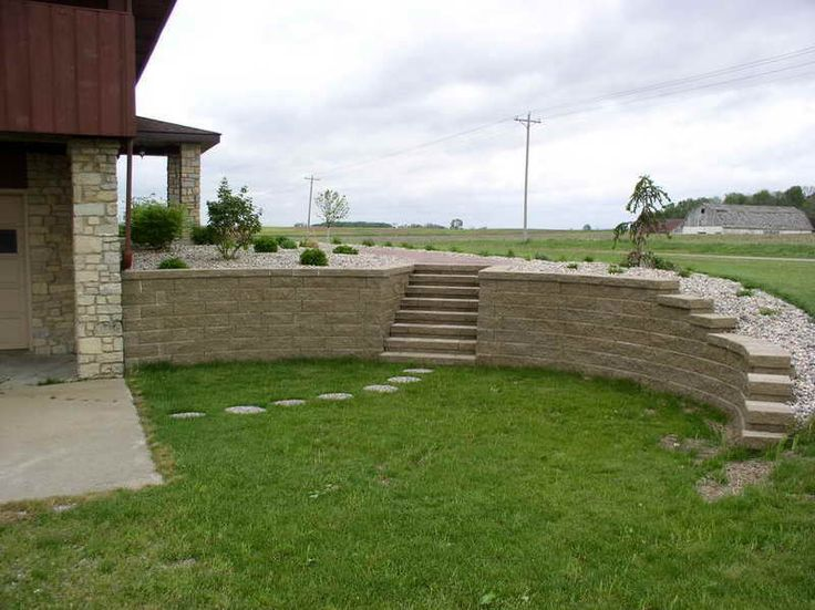 Cinder Block Retaining Wall With The Backyards