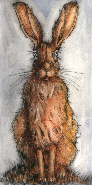 Sitting Hare. Drypoint