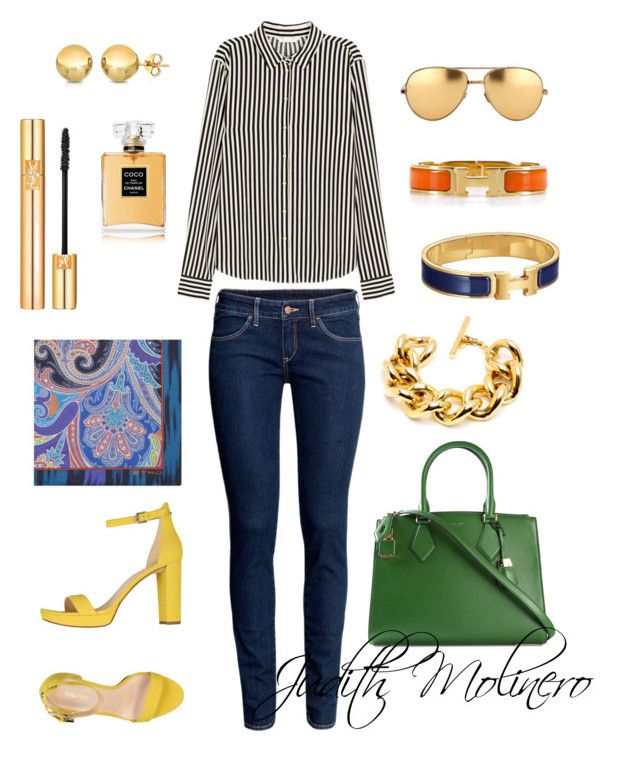 """""""Striped shirt"""" by judith-molinero-fashion on Polyvore featuring H&M, Nine West, Michael Kors, Linda Farrow, Etro, Hermès, Chanel and Yves Saint Laurent"""