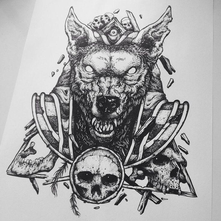 """""""Postando Anúbis de novo. Sempre bom relembrar. #anubis #skull #pointillism…"""