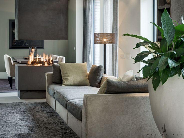 suspended fireplace & cozy neutrals; wolterinck laren